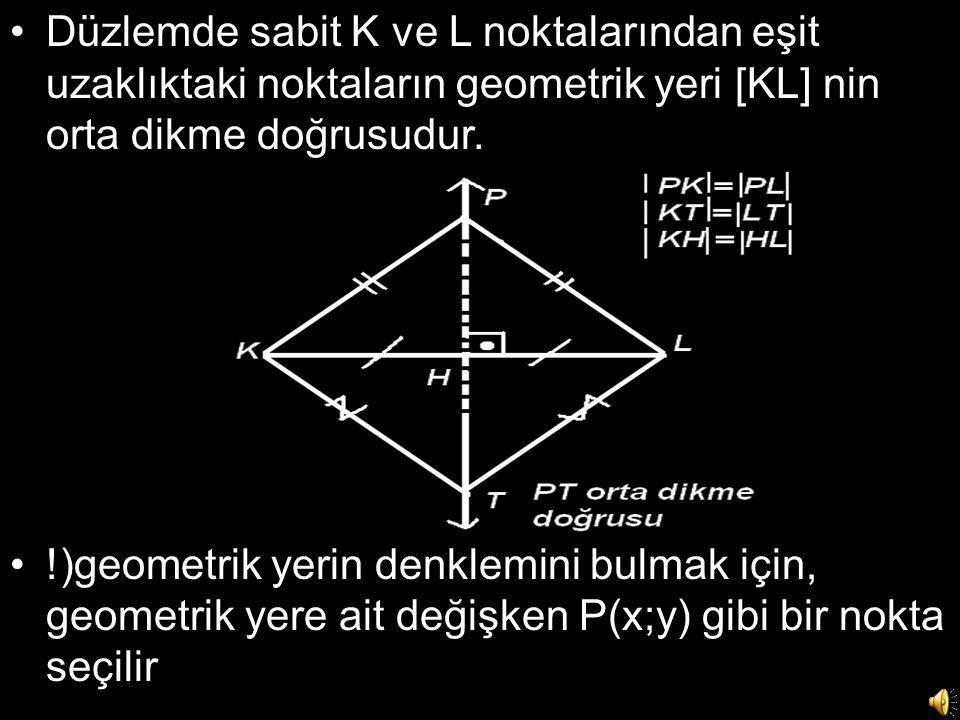 Düzlemde sabit K ve L noktalarından eşit uzaklıktaki noktaların geometrik yeri [KL] nin orta dikme doğrusudur.